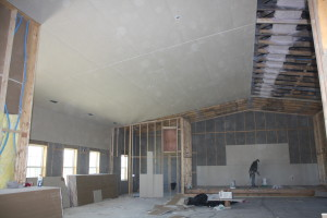 What a difference a day makes...the drywall is going up! 1 of 4 - April 13th